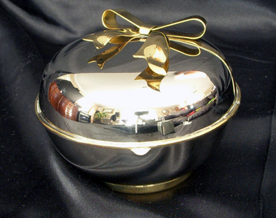 Silver Round Box with Bright Brass Ribbon